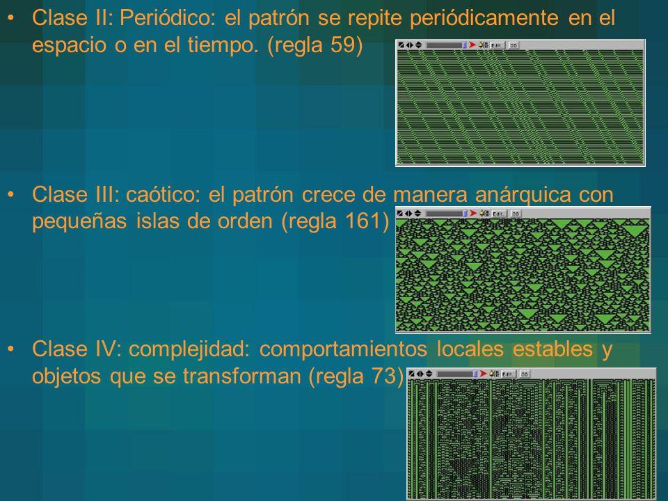 Clase II: Periódico: el patrón se repite periódicamente en el espacio o en el tiempo. (regla 59)