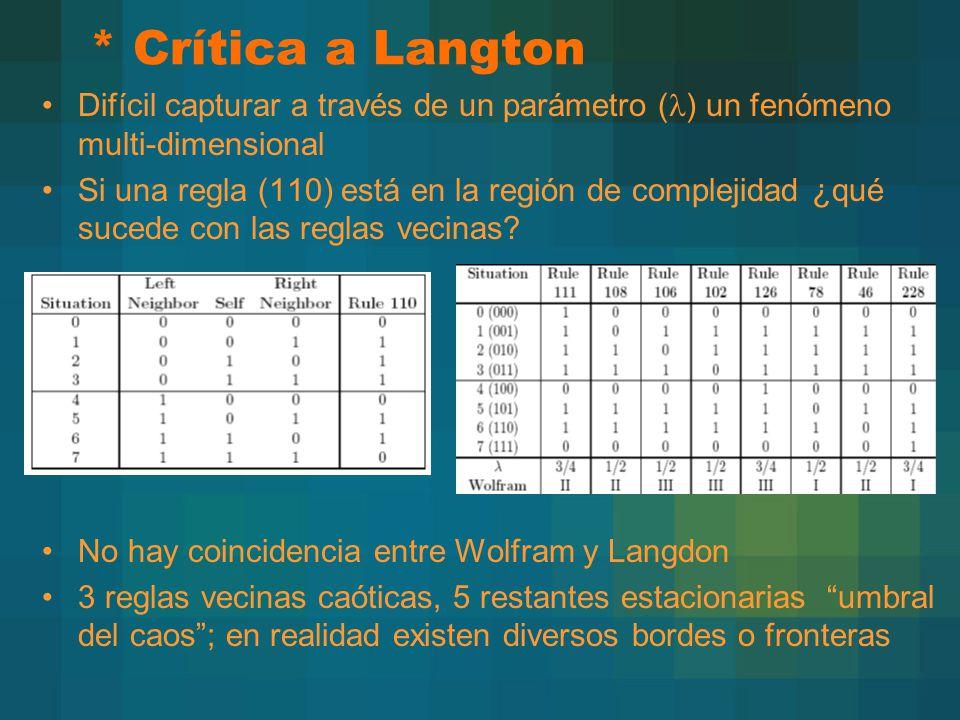 * Crítica a Langton Difícil capturar a través de un parámetro (l) un fenómeno multi-dimensional.