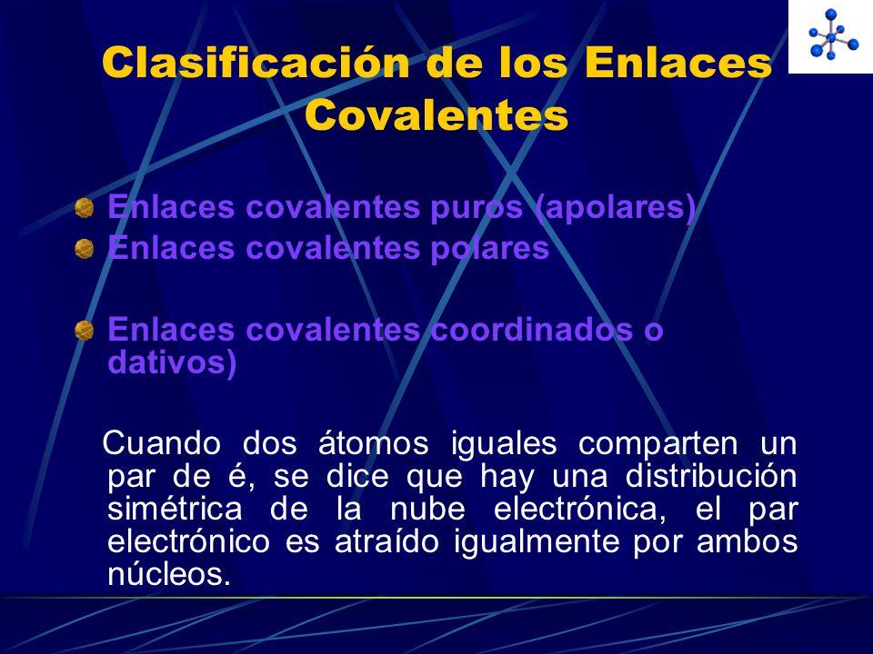 Clasificación de los Enlaces Covalentes