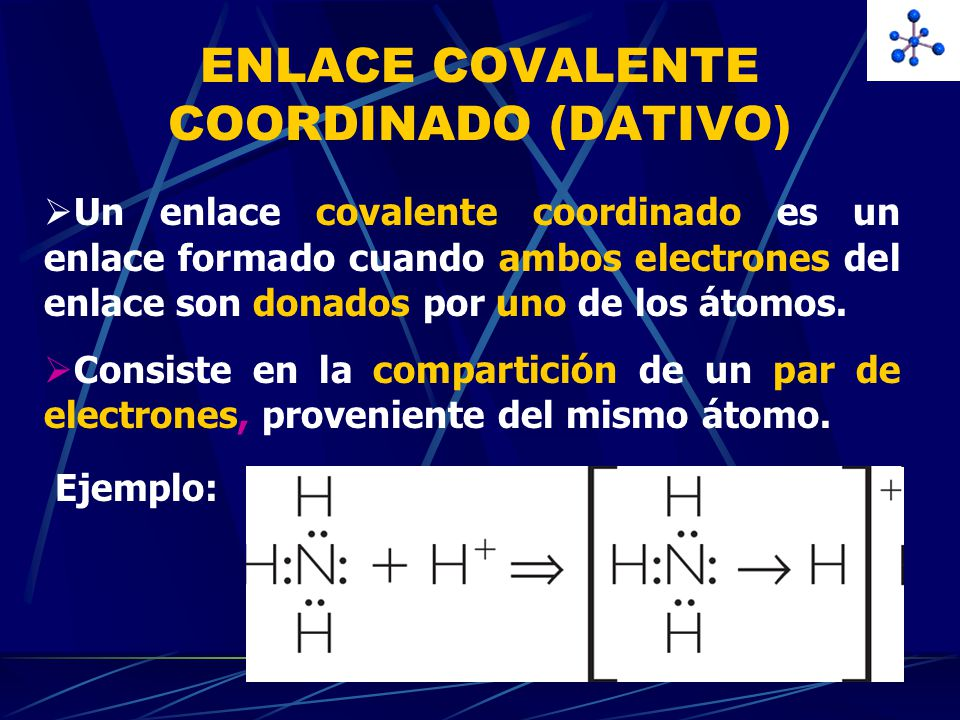 ENLACE COVALENTE COORDINADO (DATIVO)