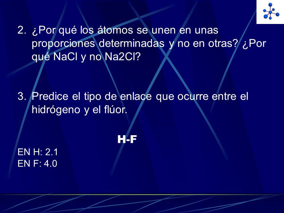 Predice el tipo de enlace que ocurre entre el hidrógeno y el flúor.