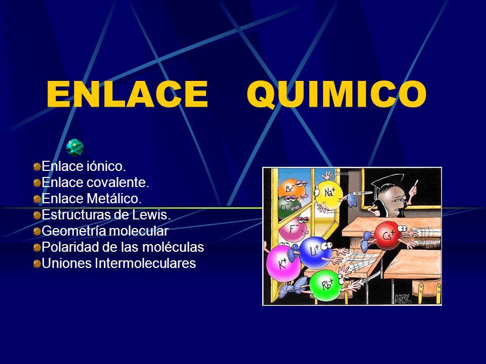 ENLACE QUIMICO Enlace iónico. Enlace covalente. Enlace Metálico.
