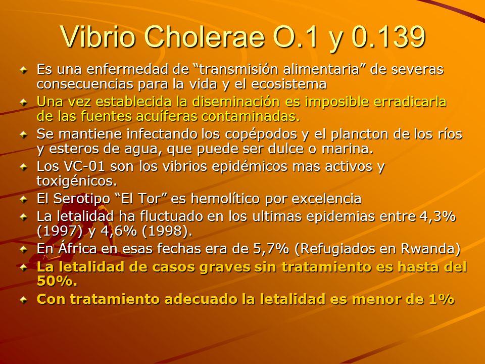 Vibrio Cholerae O.1 y 0.139 Es una enfermedad de transmisión alimentaria de severas consecuencias para la vida y el ecosistema.