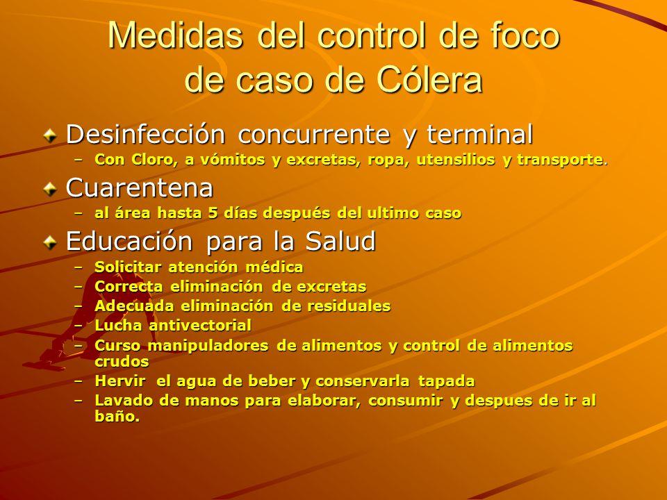 Medidas del control de foco de caso de Cólera