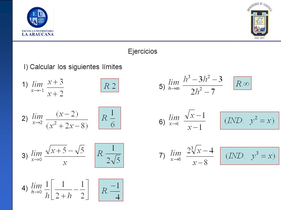 Ejercicios I) Calcular los siguientes límites 1) 5) 2) 6) 3) 7) 4)