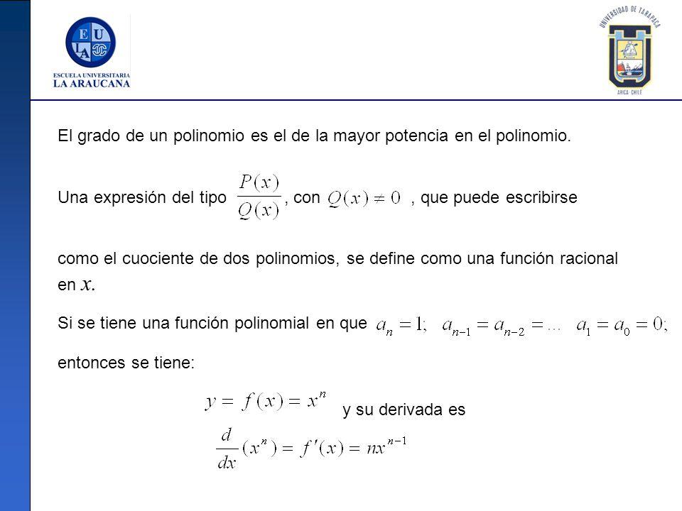 El grado de un polinomio es el de la mayor potencia en el polinomio.