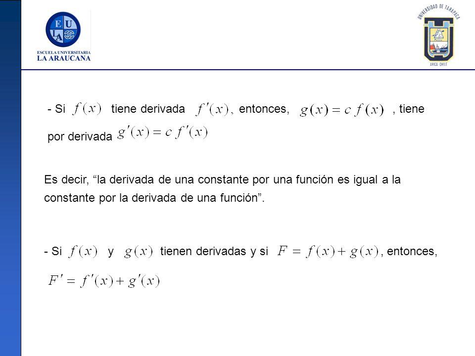 Si tiene derivada entonces, , tiene