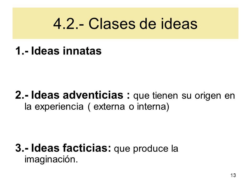 4.2.- Clases de ideas 1.- Ideas innatas