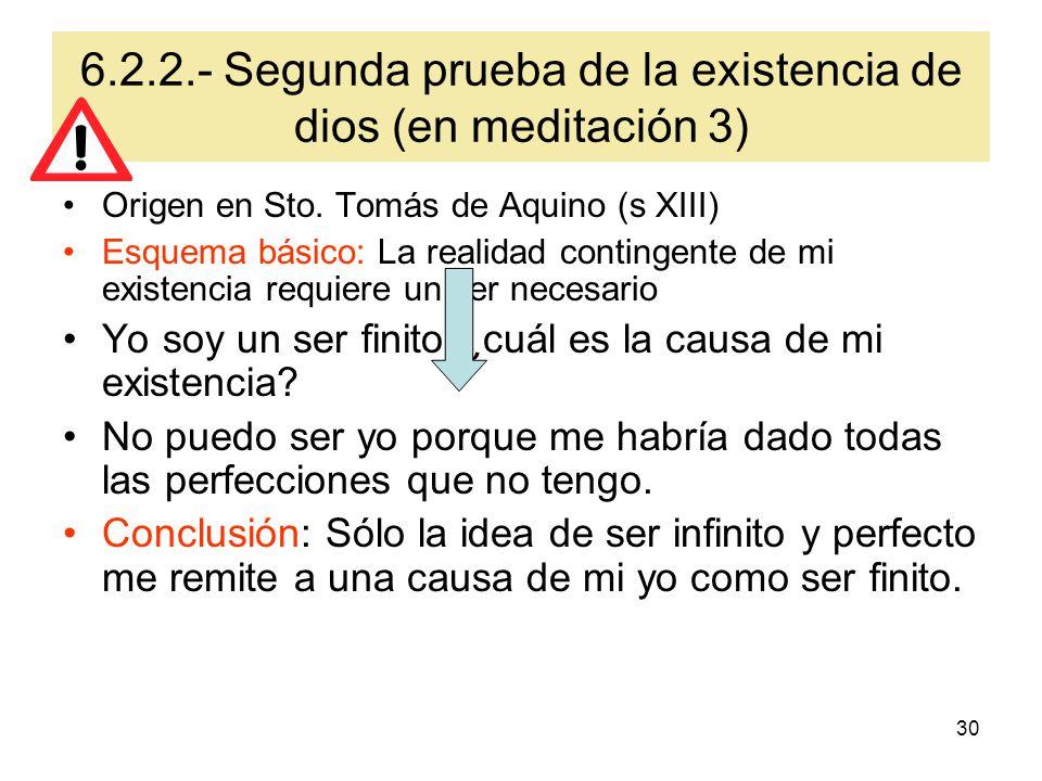 6.2.2.- Segunda prueba de la existencia de dios (en meditación 3)