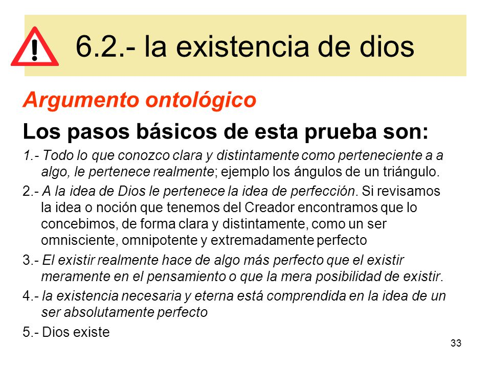 6.2.- la existencia de dios Argumento ontológico