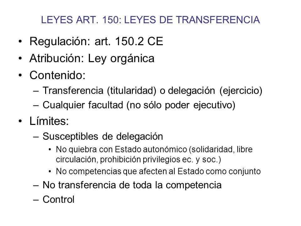 LEYES ART. 150: LEYES DE TRANSFERENCIA