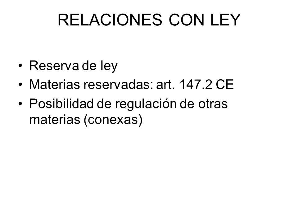 RELACIONES CON LEY Reserva de ley Materias reservadas: art. 147.2 CE