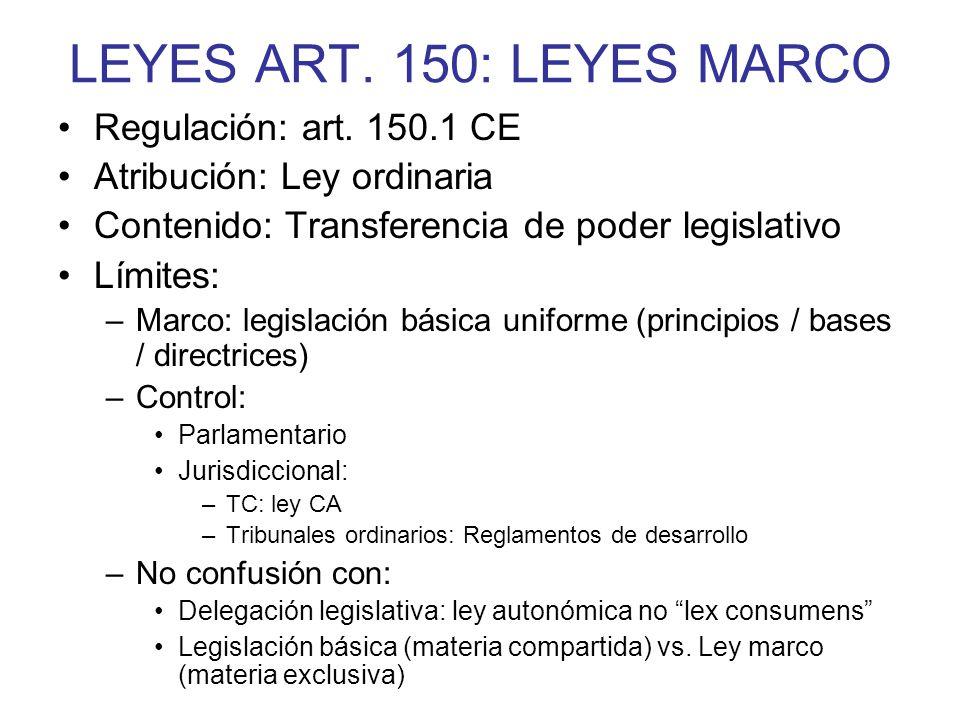LEYES ART. 150: LEYES MARCO Regulación: art. 150.1 CE