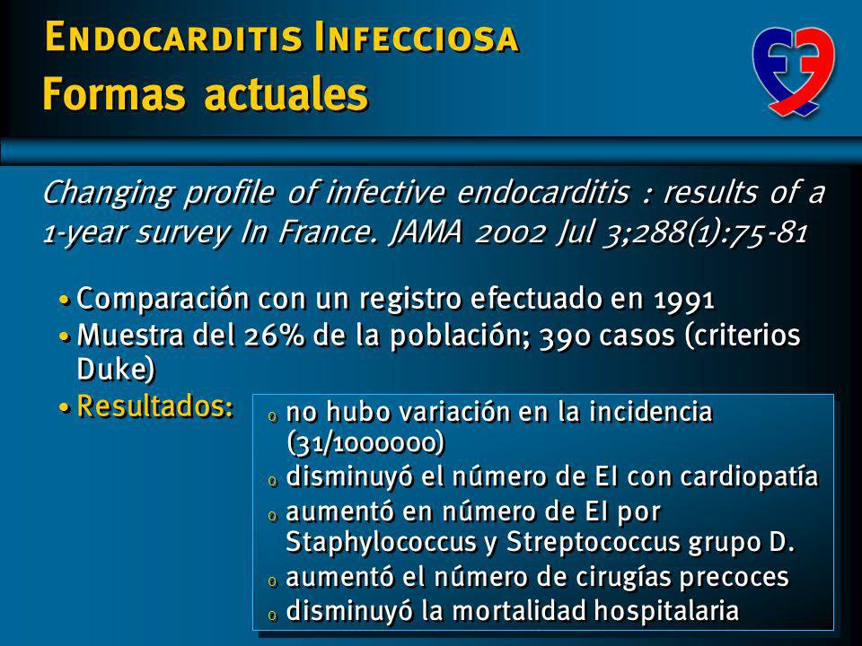 Formas actuales Changing profile of infective endocarditis : results of a 1-year survey In France. JAMA 2002 Jul 3;288(1):75-81.
