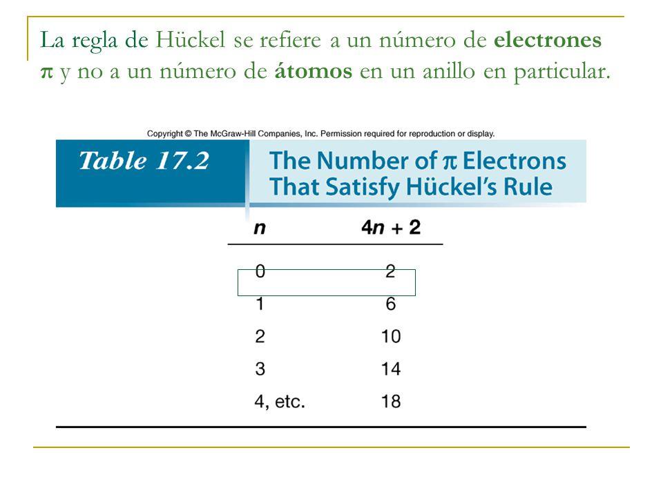 La regla de Hückel se refiere a un número de electrones π y no a un número de átomos en un anillo en particular.