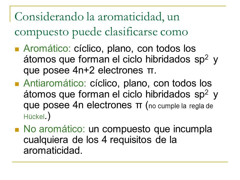 Considerando la aromaticidad, un compuesto puede clasificarse como