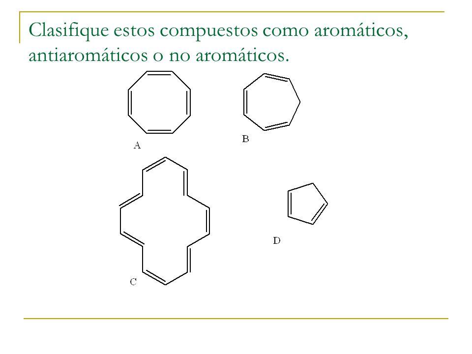 Clasifique estos compuestos como aromáticos, antiaromáticos o no aromáticos.