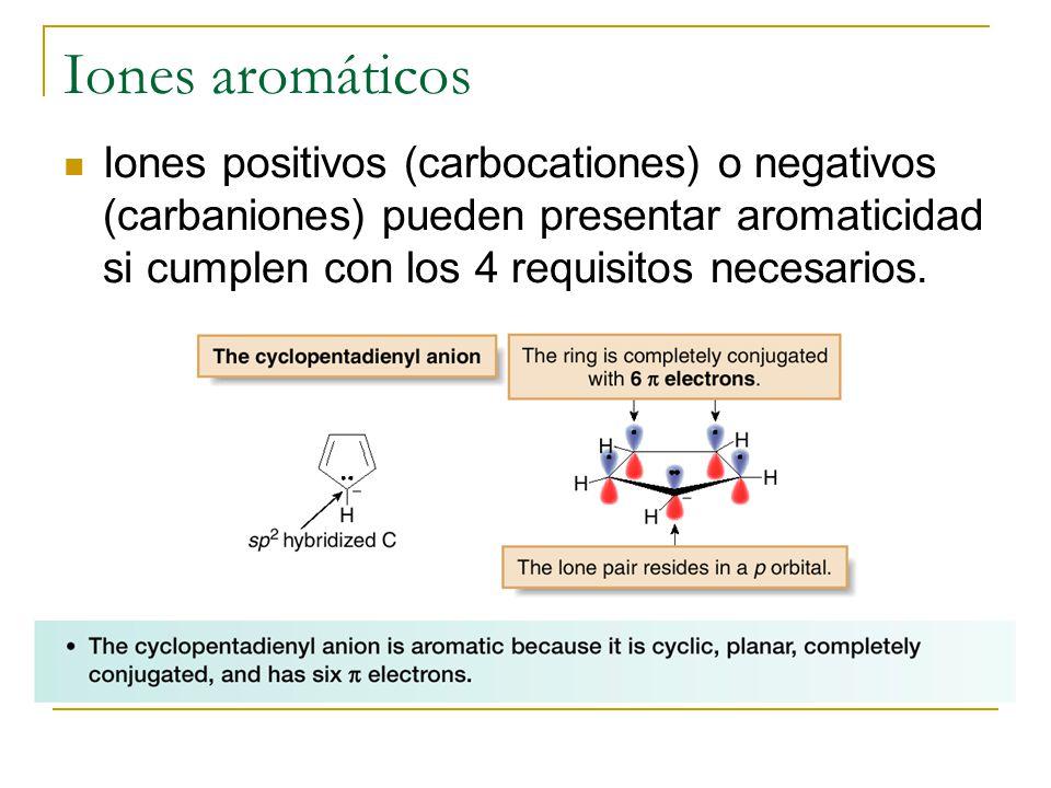 Iones aromáticos Iones positivos (carbocationes) o negativos (carbaniones) pueden presentar aromaticidad si cumplen con los 4 requisitos necesarios.