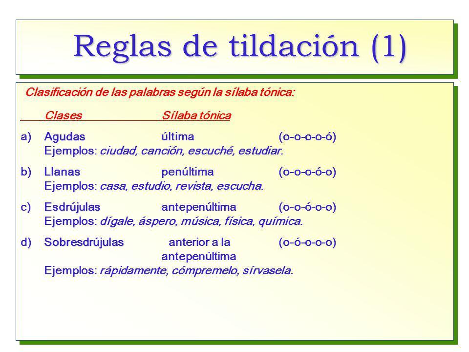 Reglas de tildación (1) Clasificación de las palabras según la sílaba tónica: Clases Sílaba tónica.
