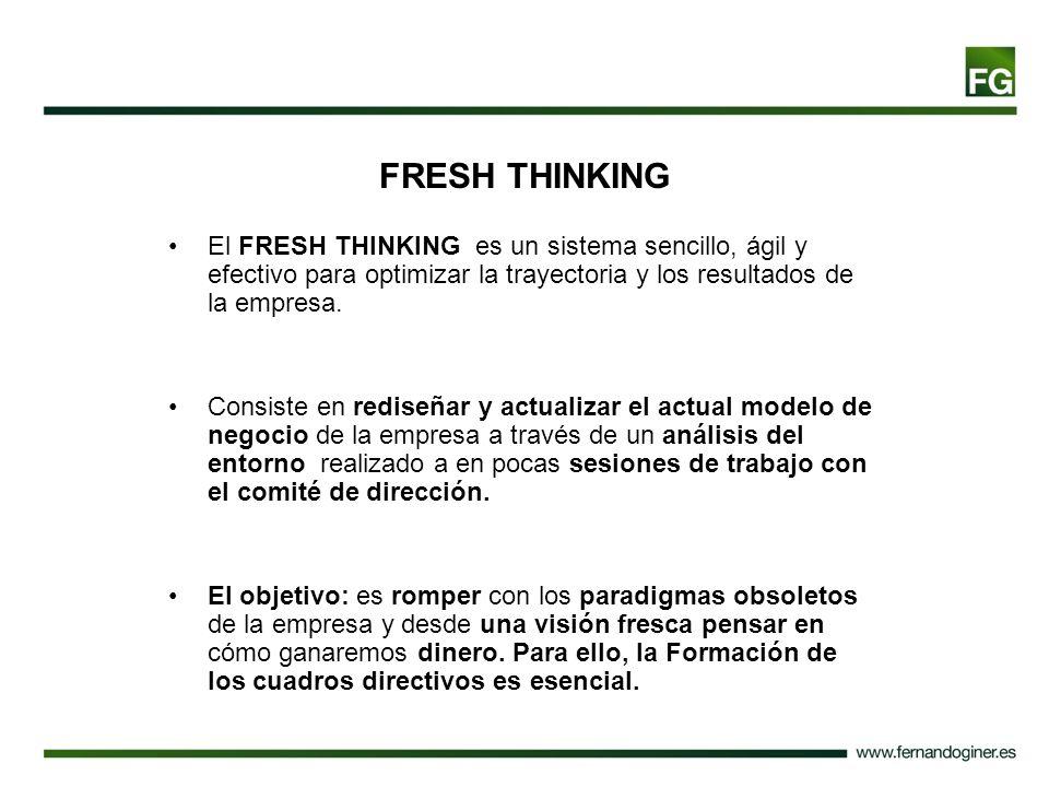 FRESH THINKING El FRESH THINKING es un sistema sencillo, ágil y efectivo para optimizar la trayectoria y los resultados de la empresa.