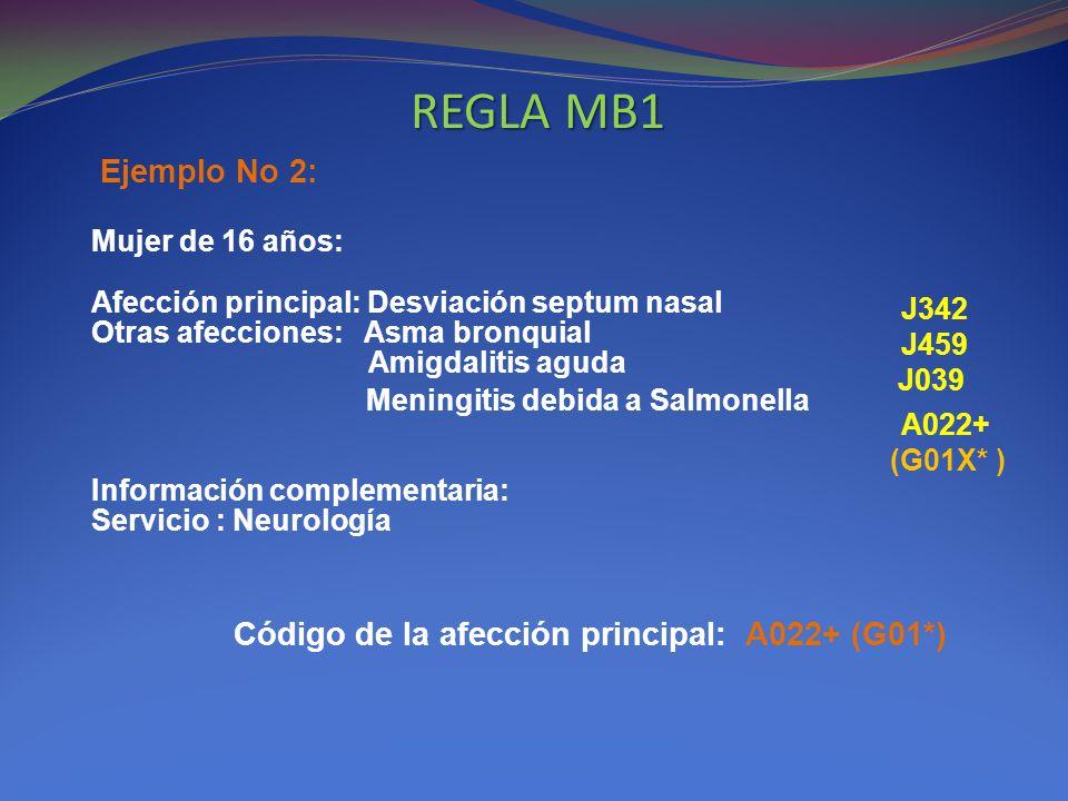 REGLA MB1 Ejemplo No 2: Código de la afección principal: A022+ (G01*)