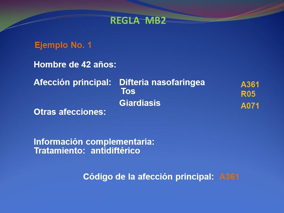 REGLA MB2 Hombre de 42 años: Afección principal: Difteria nasofaringea Tos.