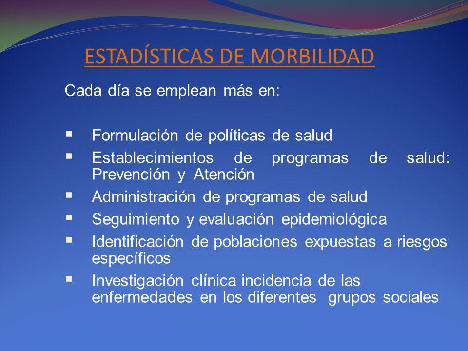 ESTADÍSTICAS DE MORBILIDAD
