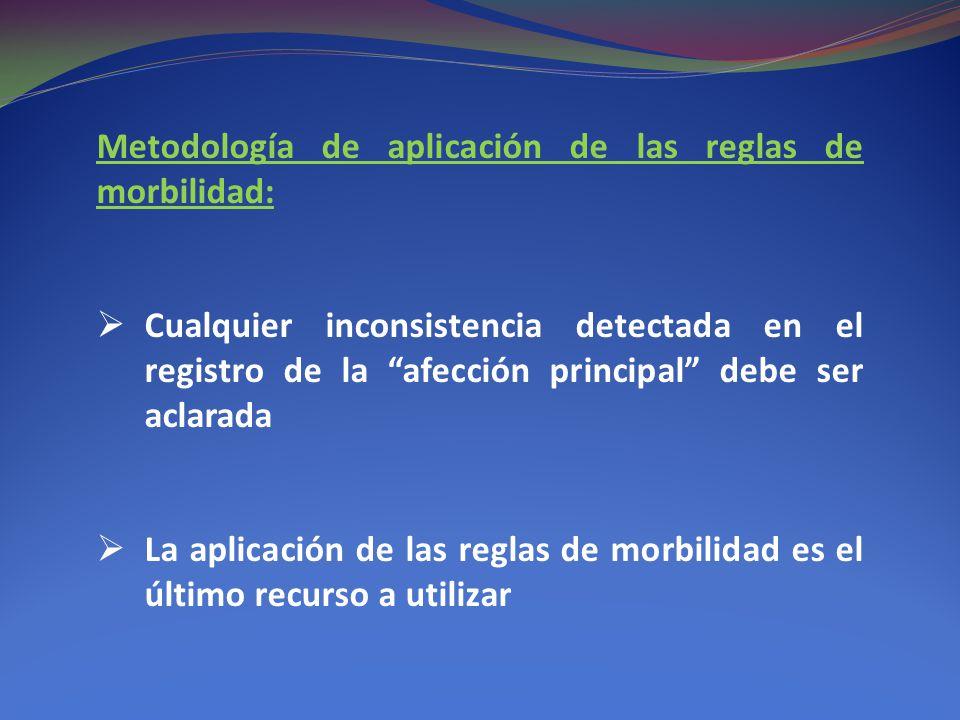 Metodología de aplicación de las reglas de morbilidad: