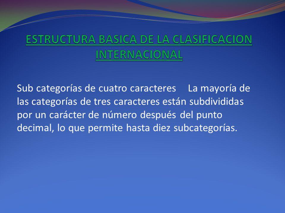 ESTRUCTURA BASICA DE LA CLASIFICACION INTERNACIONAL