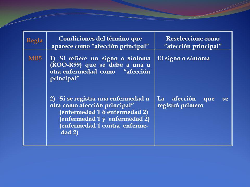 Condiciones del término que aparece como afección principal