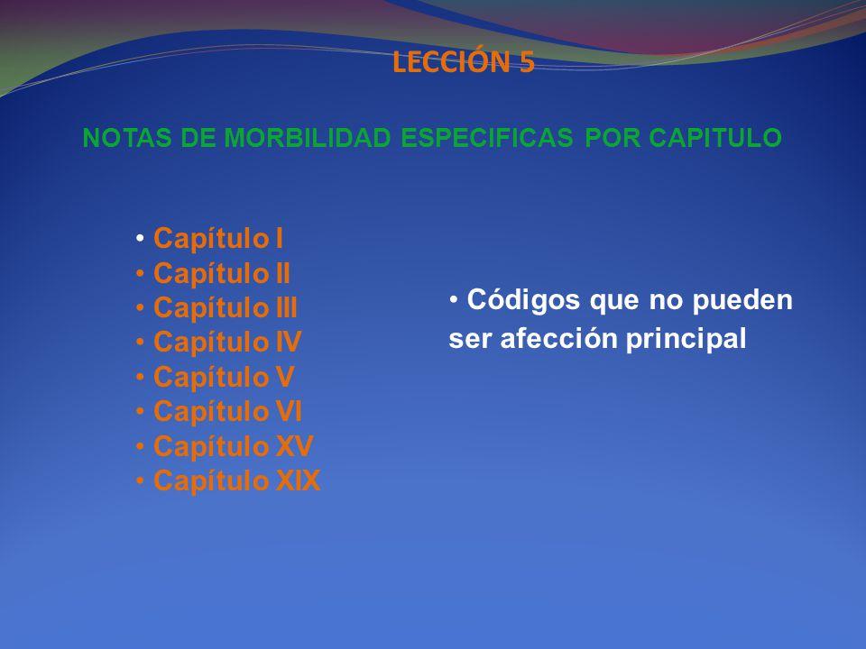 NOTAS DE MORBILIDAD ESPECIFICAS POR CAPITULO