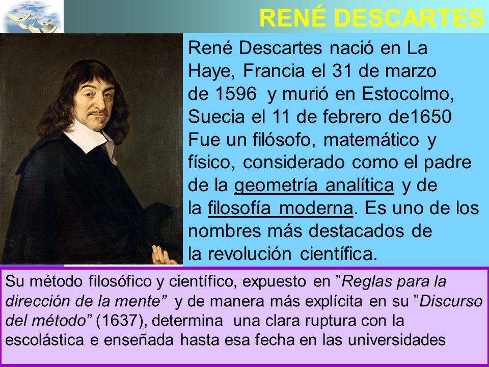 RENÉ DESCARTES René Descartes nació en La Haye, Francia el 31 de marzo