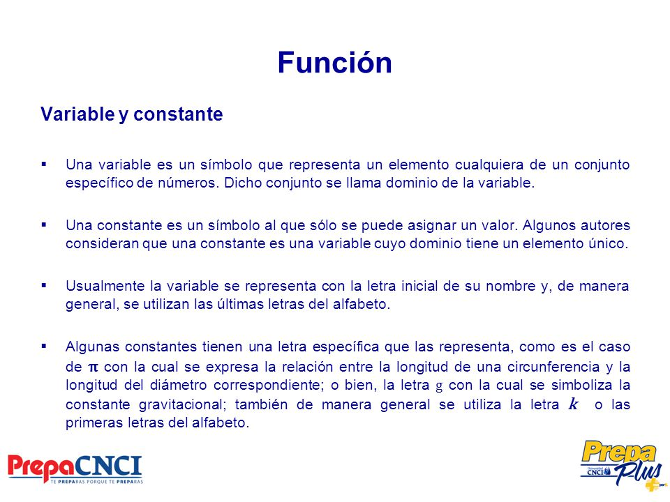 Función Variable y constante