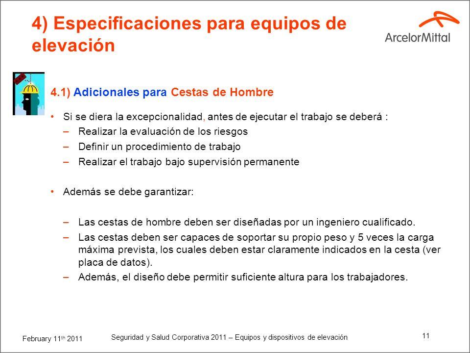 4) Especificaciones para equipos de elevación