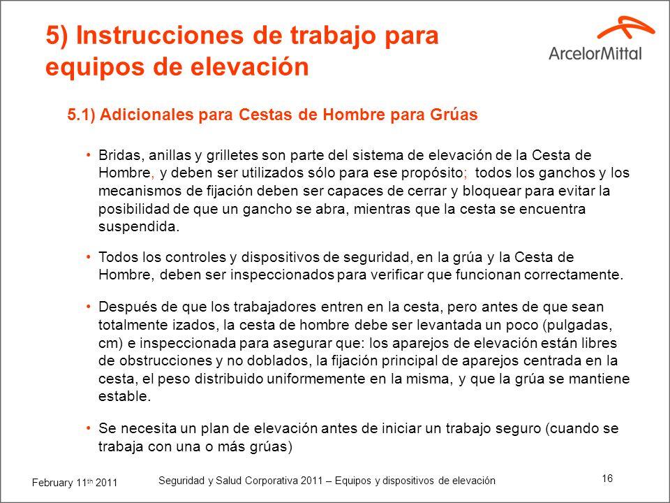 5) Instrucciones de trabajo para equipos de elevación