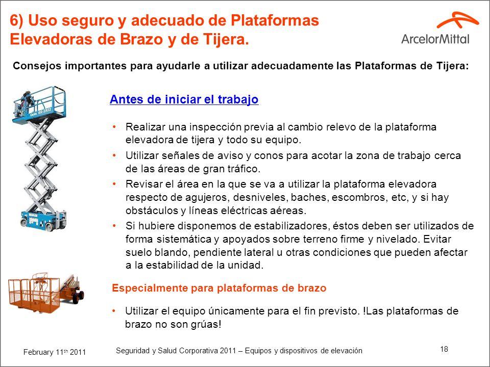6) Uso seguro y adecuado de Plataformas Elevadoras de Brazo y de Tijera.