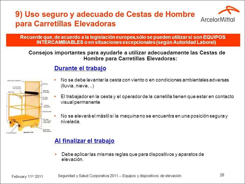 9) Uso seguro y adecuado de Cestas de Hombre para Carretillas Elevadoras
