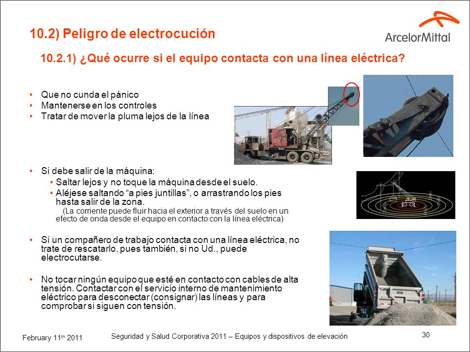 10.2.1) ¿Qué ocurre si el equipo contacta con una línea eléctrica