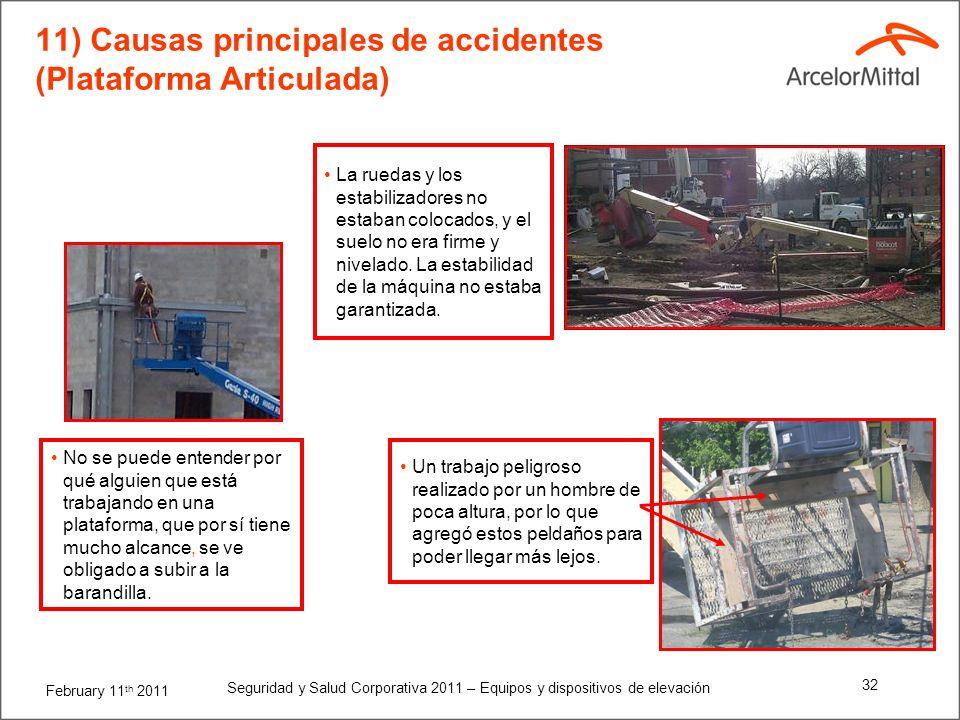 11) Causas principales de accidentes (Plataforma Articulada)