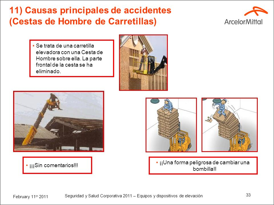 11) Causas principales de accidentes (Cestas de Hombre de Carretillas)