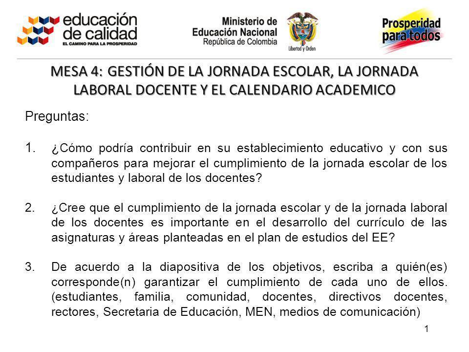MESA 4: GESTIÓN DE LA JORNADA ESCOLAR, LA JORNADA LABORAL DOCENTE Y EL CALENDARIO ACADEMICO