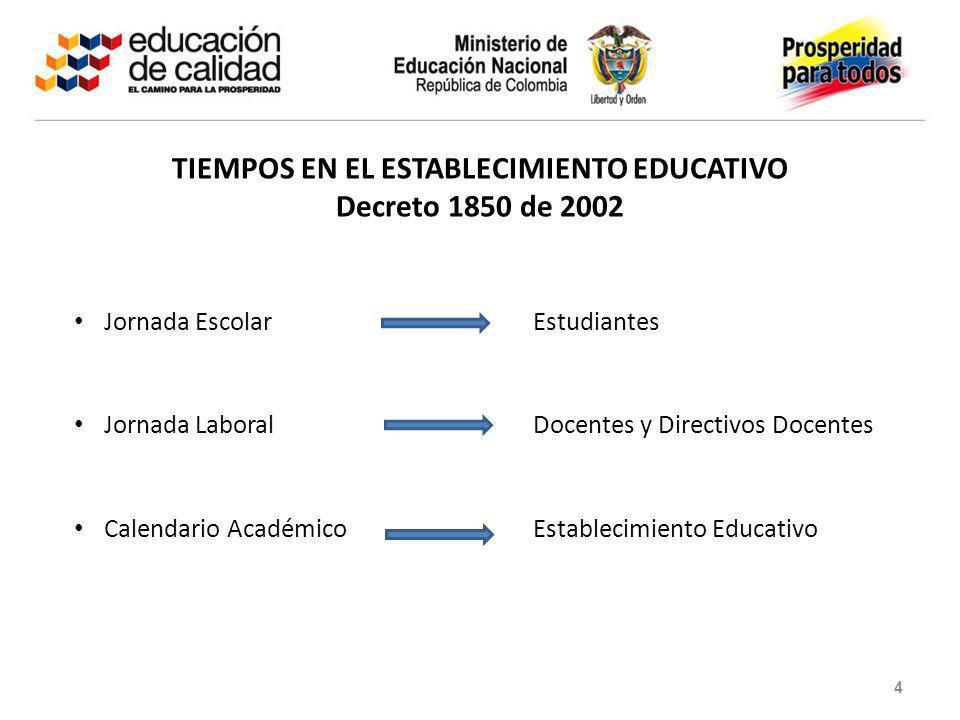 TIEMPOS EN EL ESTABLECIMIENTO EDUCATIVO Decreto 1850 de 2002