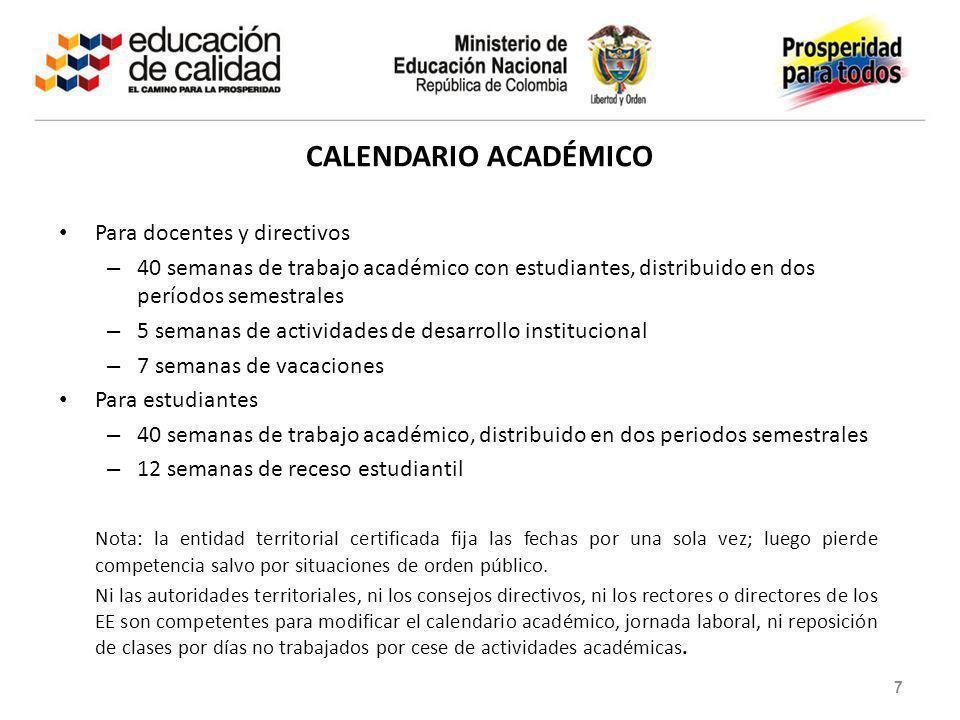 CALENDARIO ACADÉMICO Para docentes y directivos