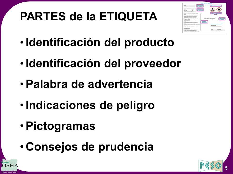 Identificación del producto Identificación del proveedor