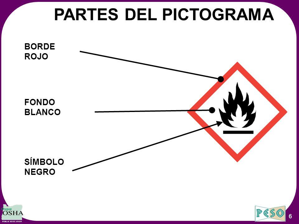PARTES DEL PICTOGRAMA BORDE ROJO FONDO BLANCO SÍMBOLO NEGRO