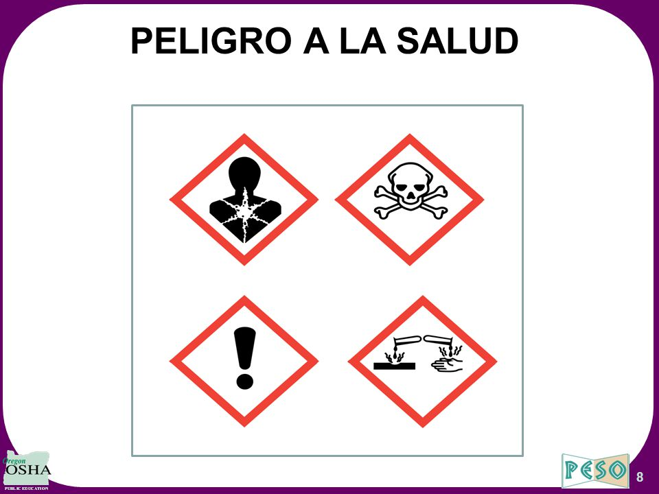 PELIGRO A LA SALUD These Overhead Slides Correspond to Oregon OSHA's Hazard Communication Aligned with GHS Worbook.