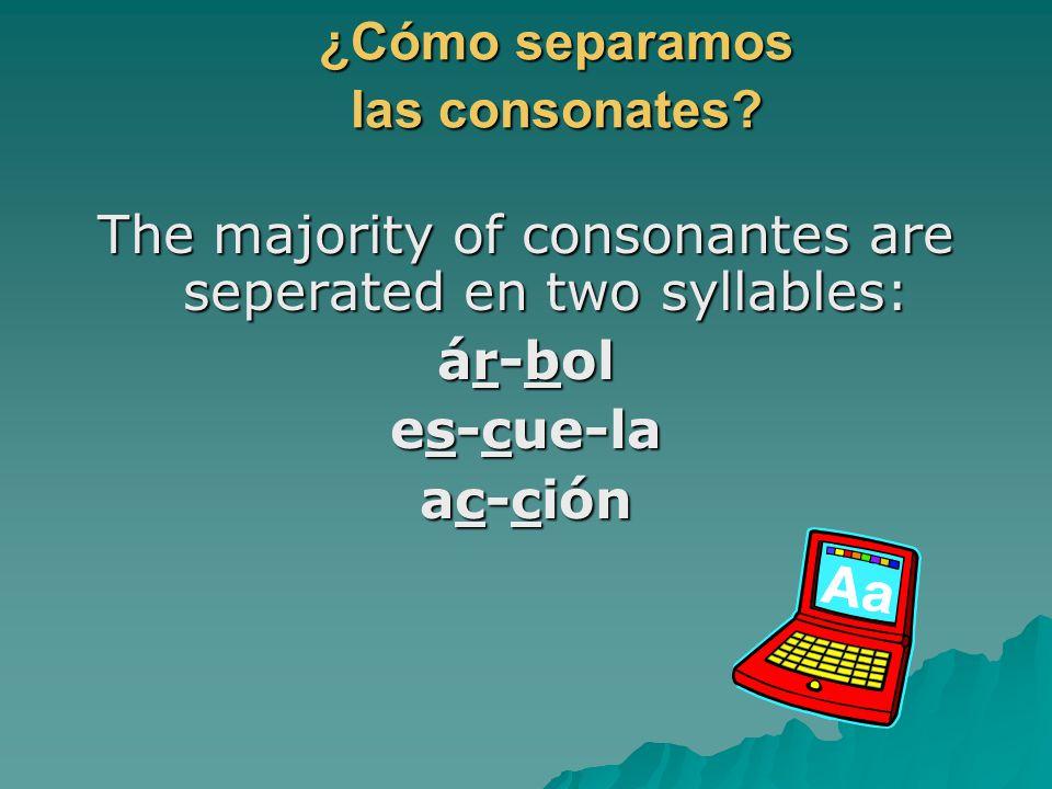 ¿Cómo separamos las consonates
