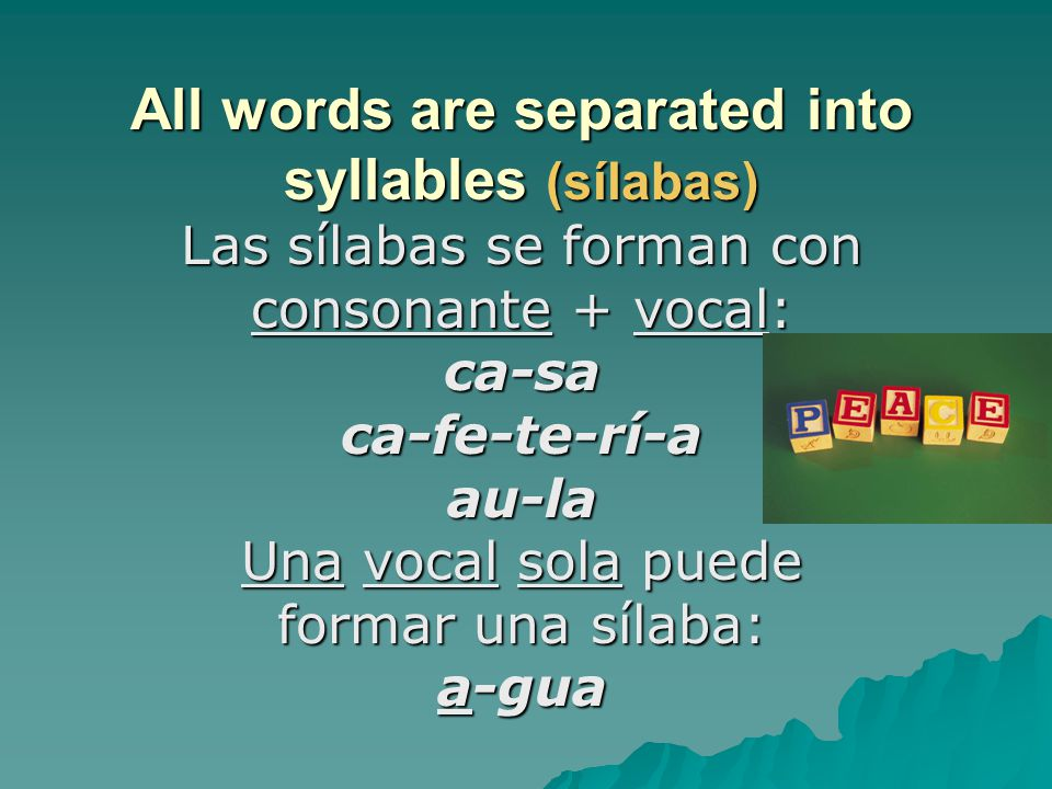All words are separated into syllables (sílabas)