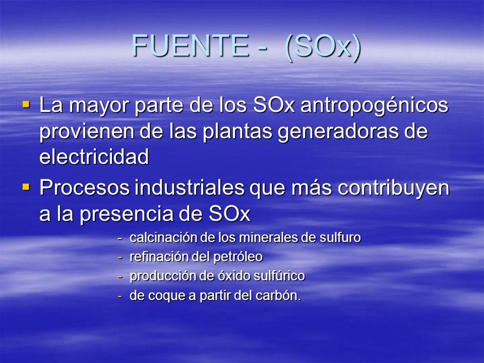 FUENTE - (SOx) La mayor parte de los SOx antropogénicos provienen de las plantas generadoras de electricidad.