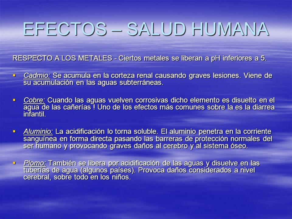 EFECTOS – SALUD HUMANA RESPECTO A LOS METALES - Ciertos metales se liberan a pH inferiores a 5.